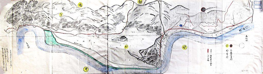 楢山堰絵図(臥牛村~島村) (右クリックで拡大表示できます)